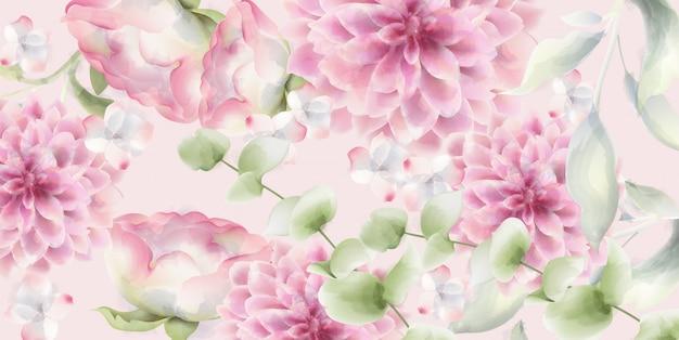 Acquerello floreale di crisantemi rosa. trame decorative delicate