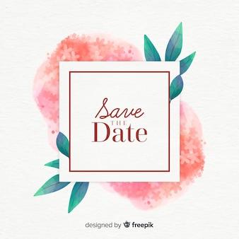 Acquerello floreale salva la data