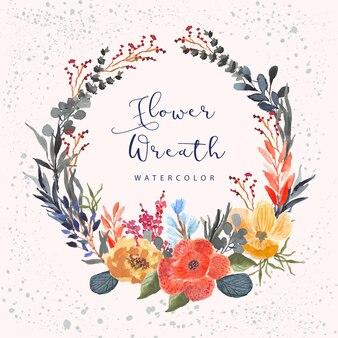 Acquerello floreale tropicale della corona floreale