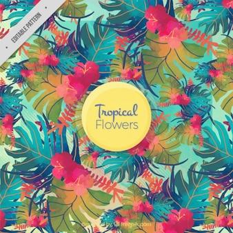 Acquerello foglie colorate modello tropicale