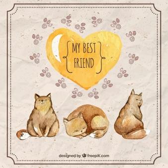 Acquerello gatti sveglio con un cuore giallo