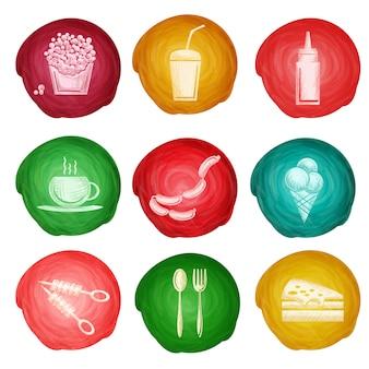 Acquerello icona di fast food