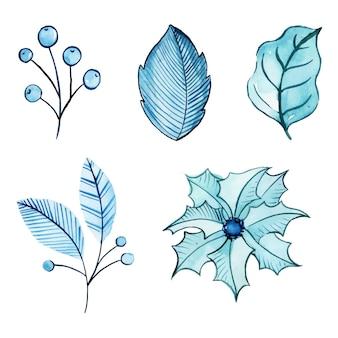 Acquerello inverno e capodanno collezione floreale e foglie