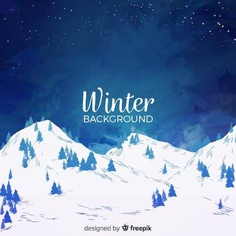 Acquerello inverno paesaggio sullo sfondo