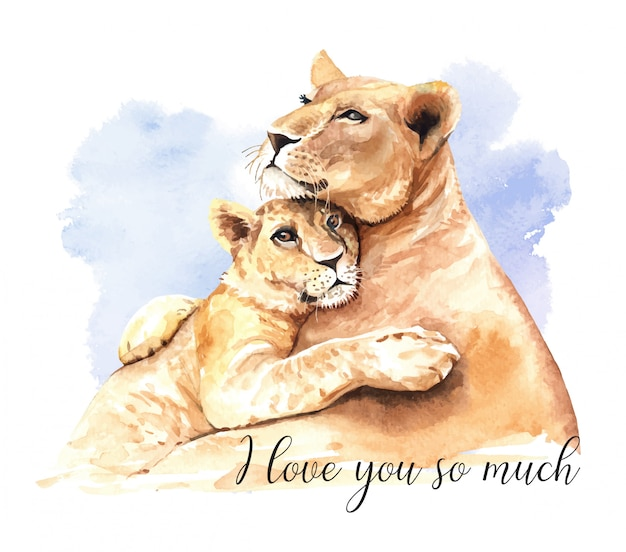 Acquerello leone mamma e figlio.