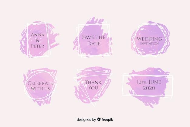 Acquerello macchie collezione di badge matrimonio