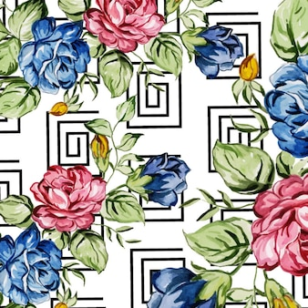 Acquerello memphis floral background