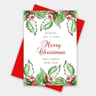 Acquerello merry christmas greeting card