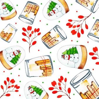 Acquerello merry christmas pattern background