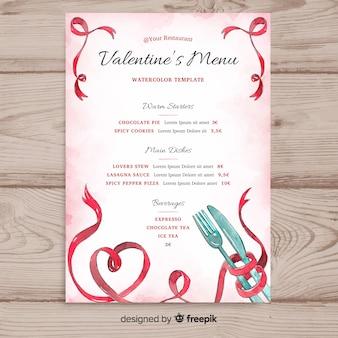 Acquerello modello di menu di san valentino