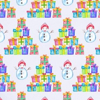 Acquerello modello di natale / sfondo con pupazzo di neve e regali