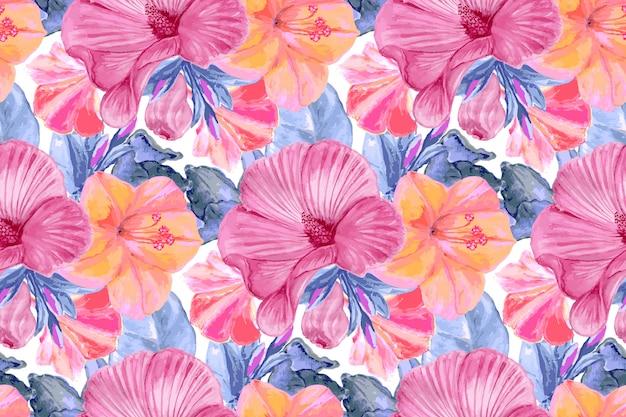 Acquerello motivo floreale senza soluzione di continuità. foglie blu, fiori rosa malva