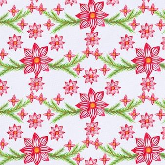 Acquerello motivo natalizio con fiori stella di natale e rami di abete