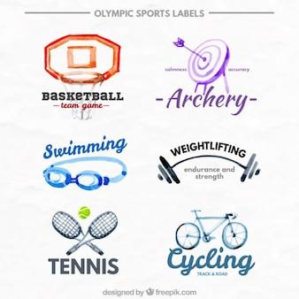Acquerello olimpici etichette sportivi impostati
