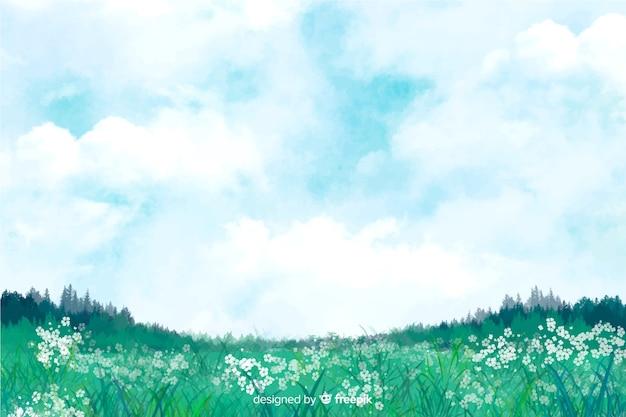 Acquerello paesaggio astratto