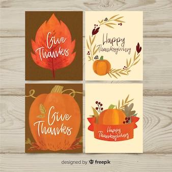 Acquerello raccolta carta del giorno del ringraziamento