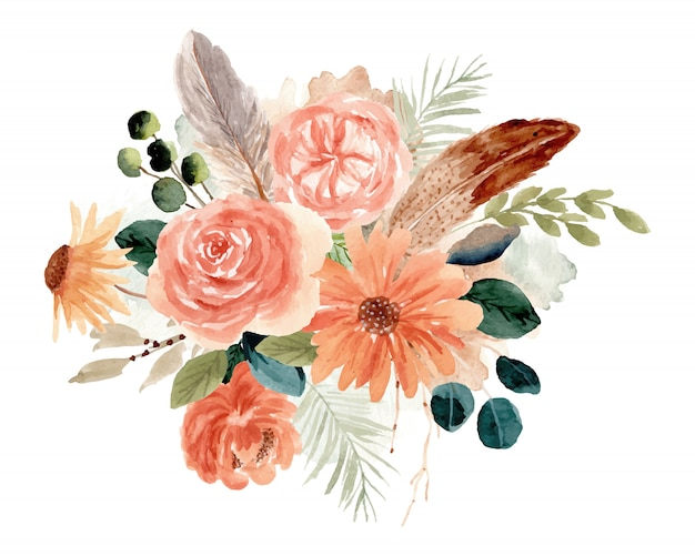 Acquerello rustico bouquet floreale