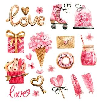 Acquerello set di elementi per il giorno di san valentino.