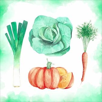 Acquerello set di verdure sane