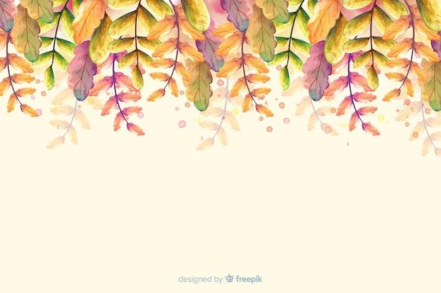 Acquerello sfondo autunnale con foglie