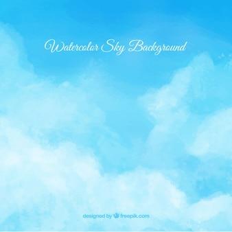 Acquerello sfondo cielo poco nuvoloso