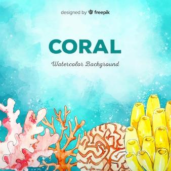 Acquerello sfondo corallo