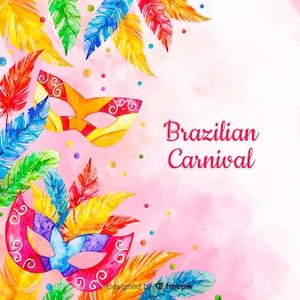 Acquerello sfondo di carnevale brasiliano