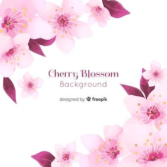 Acquerello sfondo di fiori di ciliegio