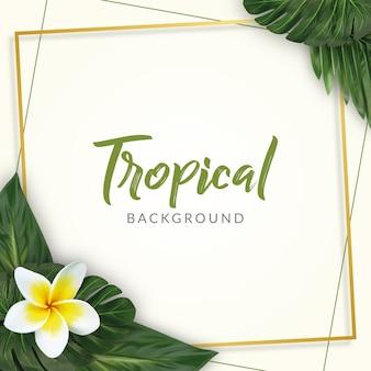 Acquerello sfondo di foglie tropicali