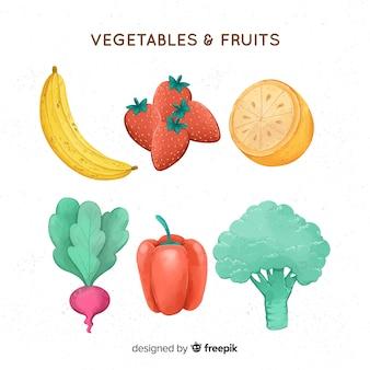 Acquerello sfondo di frutta e verdura