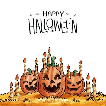 Acquerello sfondo di halloween con zucche smiley