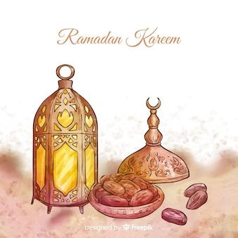 Acquerello sfondo di ramadan