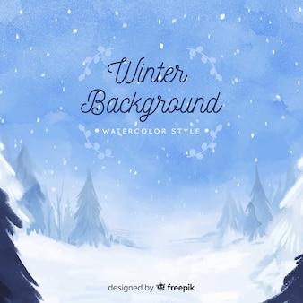Acquerello sfondo invernale