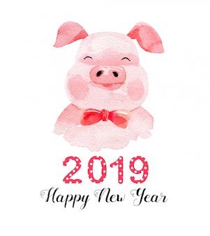 Acquerello simpatico maiale felice anno nuovo 2019.