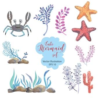 Acquerello sirenetta con capelli rosa e coda di pesce verde si trova sulla sabbia sul fondo del mare.