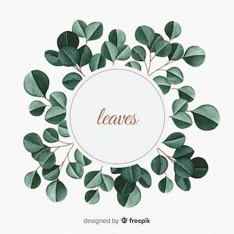 Acquerello sullo sfondo naturale con foglie
