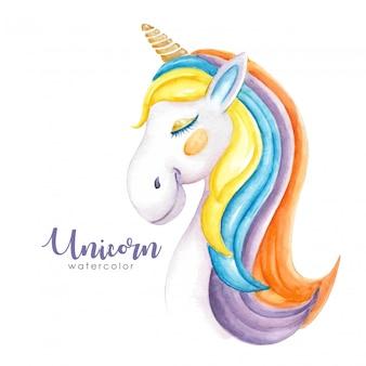 Acquerello unicorno colorato peloso carino