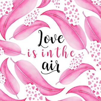 Acquerello valentine feather background