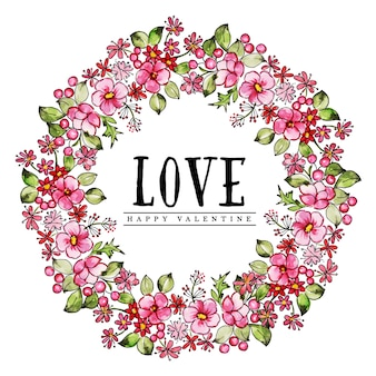 Acquerello valentine floral wreath
