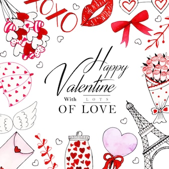 Acquerello valentine frame background