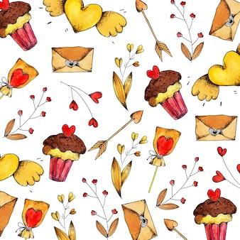 Acquerello valentine pattern background