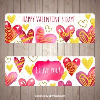 Acquerello valentines striscioni con cuori di doodle