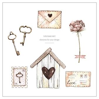 Acquerello vintage con birdhouse, francobolli, lettere, peonia e chiavi.