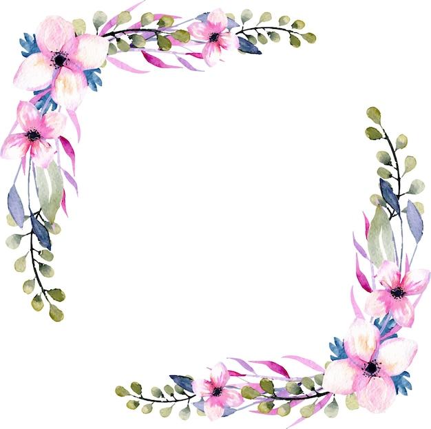 Acquerello wildflowers e bordi d'angolo di rami verdi