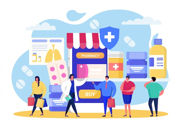 Acquista in farmacia online, cartoon piccole persone che acquistano pillole in farmacia, medicina mobile sanitaria su bianco