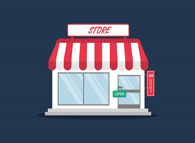 Acquista in stile piatto. negozio, minimarket.