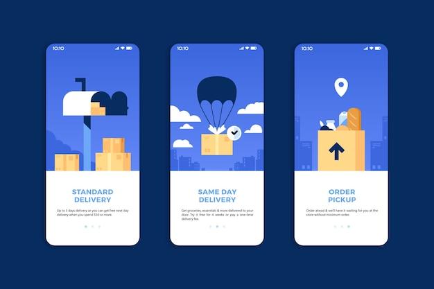 Acquista schermate dell'app di onboarding online (cellulare)