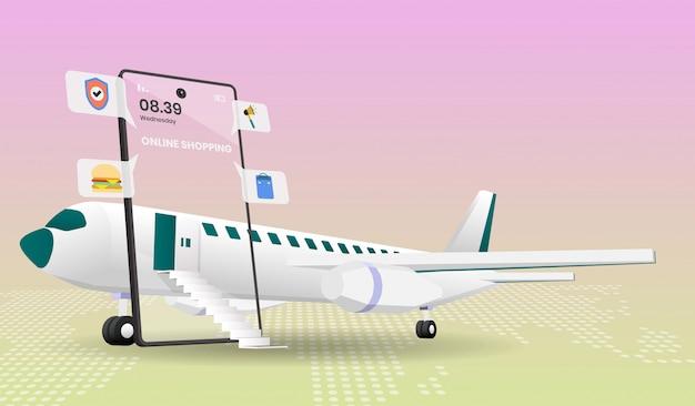 Acquistando online sul sito web o sul cellulare con l'aereo illustrazione dell'applicazione.