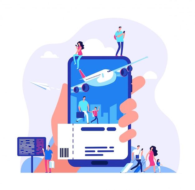 Acquistare i biglietti con lo smartphone. illustrazione di viaggio dell'aereo o del treno di prenotazione della gente