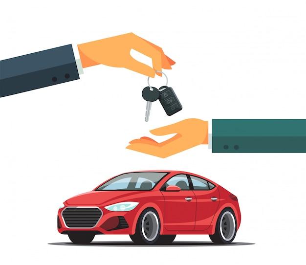 Acquistare o noleggiare un'auto rossa nuova o usata. commerciante che fornisce la catena di chiavi ad una mano del compratore. illustrazione moderna di stile piano isolata